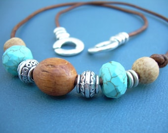 Leather Necklace with Turquoise Coconut Wood and Tibetan Silver Beads,  Leather Necklace, Mens Jewelry, Womens Jewelry