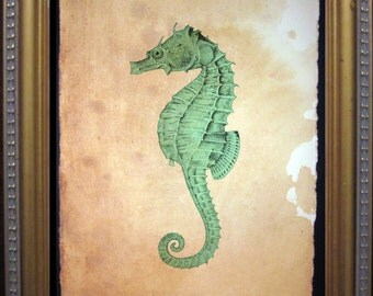 Green Seahorse Print - Vintage Style Nautical Seahorse Art Print - Seahorse on Tea Stained Paper
