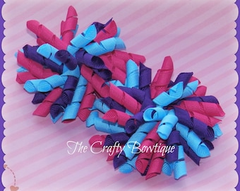 Pink, Purple & Blue ~ Korker Pigtail Bows ~ Purple Korker Bow ~ Hot Pink Korker Bow ~ Blue Korker Bow ~ Corkscrew Hair Bow ~ Baby Toddler