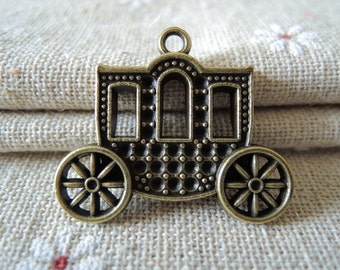 4Pcs  31x26mm   antique bronze carriage  (A113)