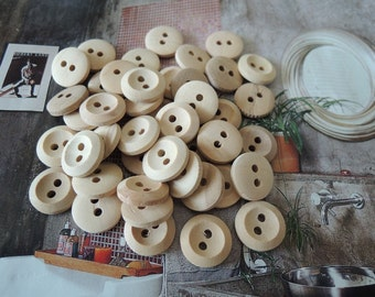50Pcs  13mm Unfinished Natural  Wood button 2 holes No varnish   ( W448)