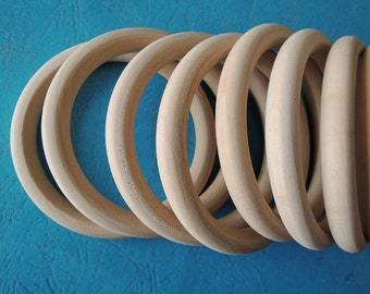 "10%discount--12 Pcs Large  74mm (3"")Wood  Ring  Unfinished Wooden Circle No Varnish (W466)"