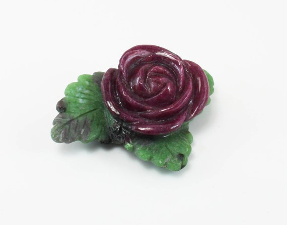 Ruby Rose Carving with Zoisite Leaves, D-158