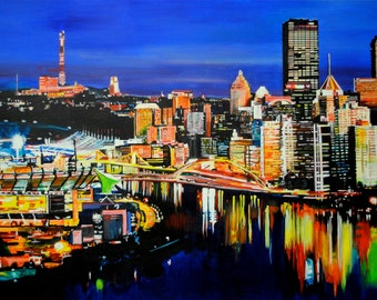 Art Print of Original Painting of the Pittsburgh Skyline