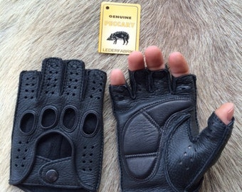Fingerless Peccary Leather Gloves -Driving Gloves