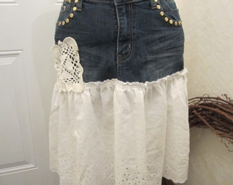 Denim and Eyelet Recycled Skirt of D Jeans // Upcycled Clothing Skirt