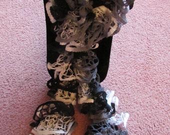 Starbella nightclouds knitted ruffled scarf - black white grey