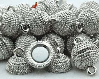 Antique Silver pleated Magnetic Clasp 12x19mm,10 Set
