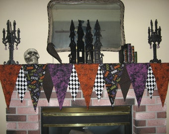 Halloween Mantle Scarf - Halloween Mantle Decoration- Customized to fit your mantle
