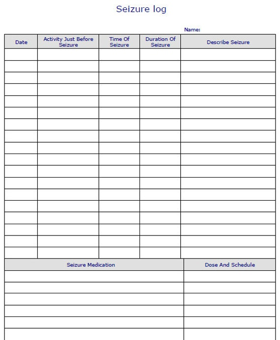 seizure diary template - fillable digital seizure log pdf digital health forms