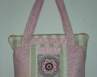 Pink and gray zippered tote