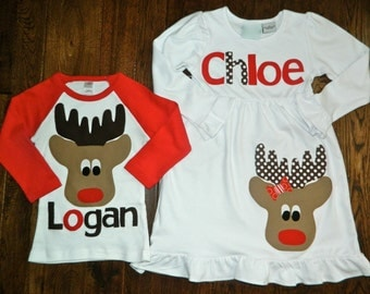 Brother Sister Sibling Set- Reindeer Applique Outfits- Perfect for Family Pictures