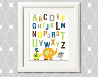 Elephant alphabet Nursery Art Print - 8x10 - Children wall art, love birds, orange, yellow, navy, brown, green, grey, multicolor - UNFRAMED