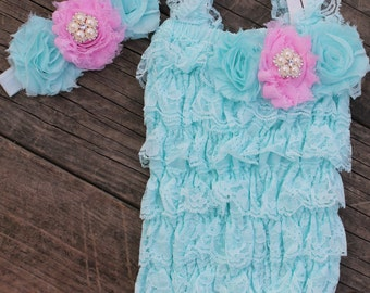 Aqua and Pink Lace Petti Romper and Headband Set, Cake Smash Outfit, Newborn Oufit, 1st Birthday Outfit, Infant Outfit, Shabby Chic Outfit