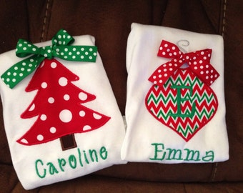 Christmas Appliqué Shirts, Christmas Tree, Christmas Ornament, girls, toddler, infant