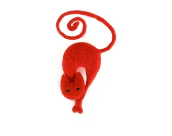 Red cat brooch, Needle felt animal brooch, Cat miniature, Wire jewelry, Gift for her, Gift for cat lovers, Red brooch, Christmas gift idea