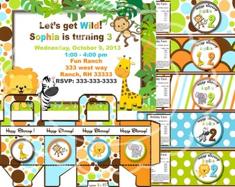 Safari birthday party,  jungle party, zoo party animal party Safari party Safari invitation printable digital