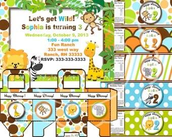 Safari birthday party jungle party zoo party animal party Safari party Safari invitation printable
