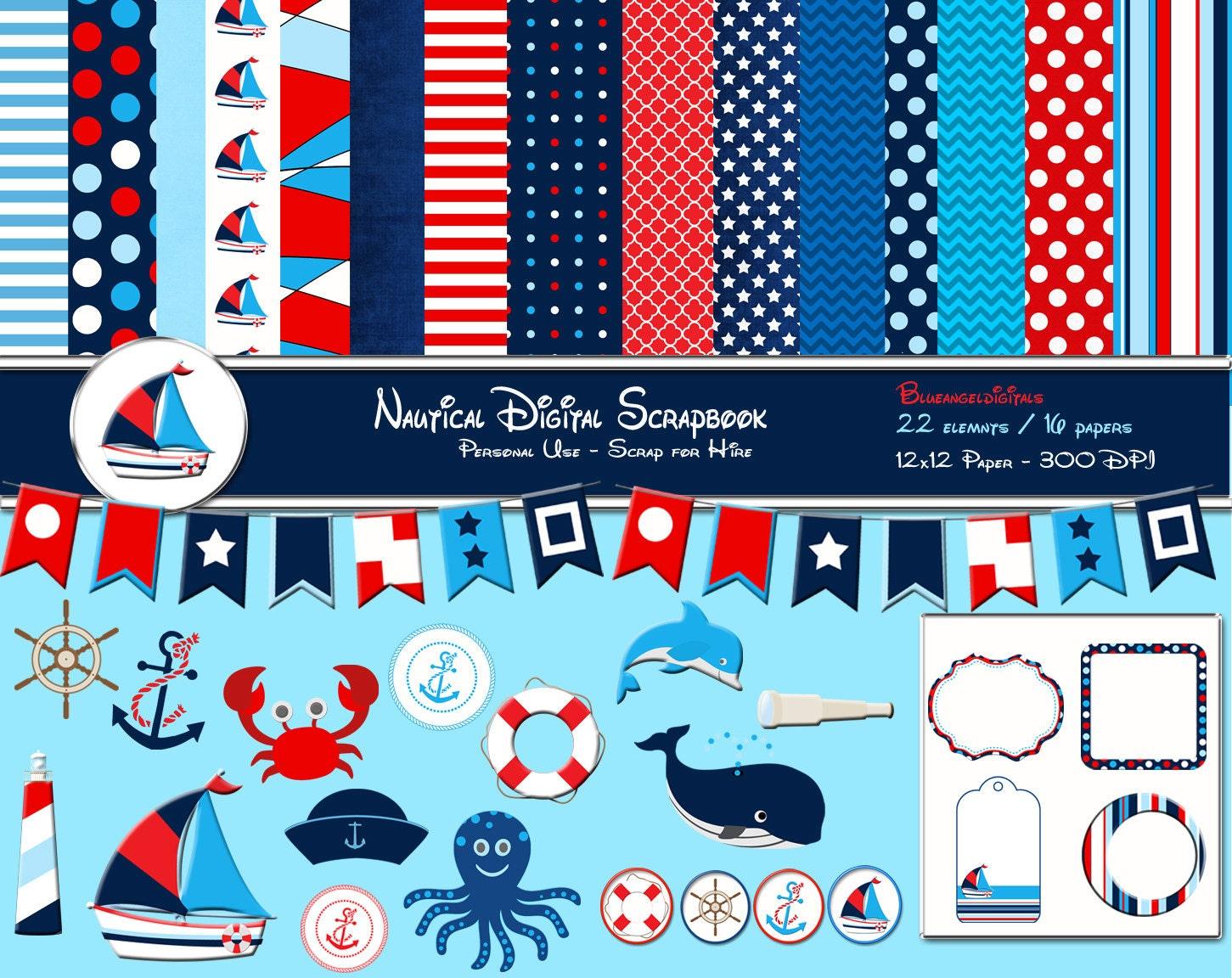 Nautical clipart nautical digital scrapbook kit red white zoom bankloansurffo Gallery
