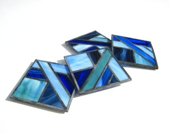 Blue Hand-Crafted, Stained Glass Coasters by Krista