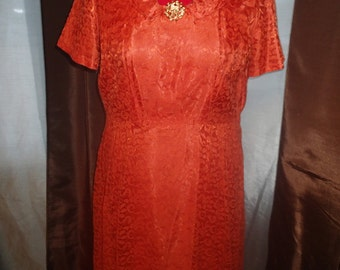 Gorgeous Vintage 1950s Burnt Orange A-Line Prom Dress with Lace Overlay XL XXL