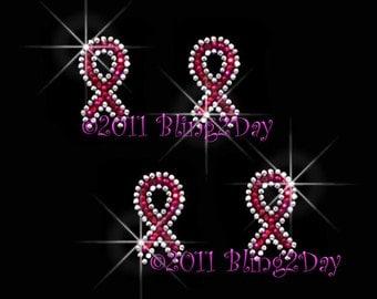 Set of 4 - Mini Pink Breast Cancer Ribbon - Iron on Rhinestone Transfer Bling Hot Fix Awareness Applique - DIY