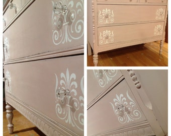 SOLD- Vintage dresser  refinished in Antoinette with white stencil