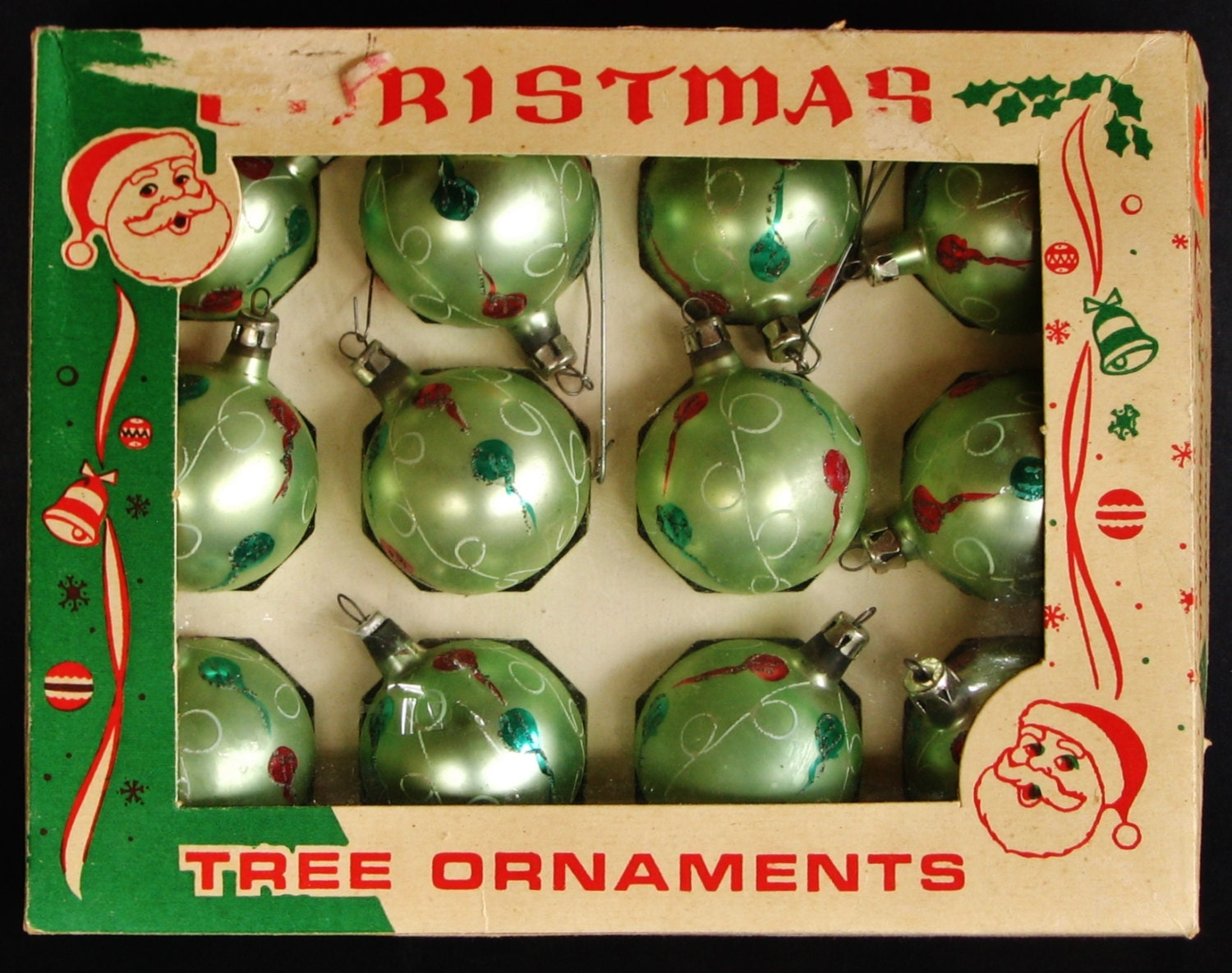 Hand blown glass christmas ornaments set in box mica glitter