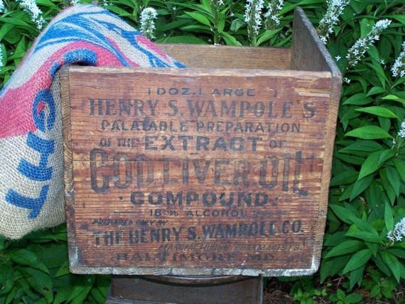 Rare 1900 - 1920 Vintage Antique Henry S. Wampole's Cod Liver Oil Extract Wooden Crate Epsteam