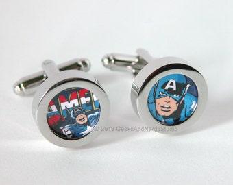 Superhero Cufflinks - Captain America Cufflinks - Marvel Comics - Groomsmen Gift - Custom Cufflinks - Wedding Cufflinks - Best Man Gift