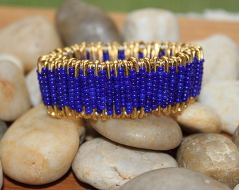 Royal Blue and Gold Safety Pin Bracelet