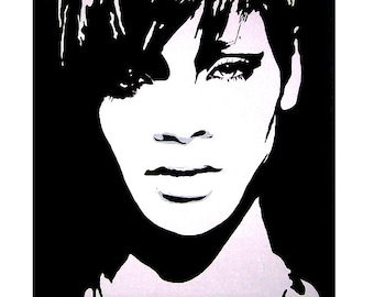 Rihanna Original on Canvas in Black and White