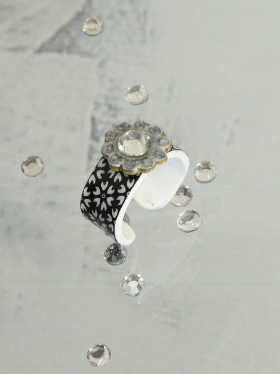 black and white ring with a bling, rhinestone ring, sparkling crystal, a fun faux gem ring for young women, handmade gift, giftbox included