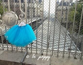 SHORT TURQUOISE TUTU skirt - Tea lenght Cyan tulle skirt - 8 layers sewn tutu - Custom - Adult tutu skirt - Girl tulle skirt - Flower girl