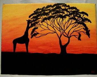 African Acacia Tree and Giraffe Original on Canvas