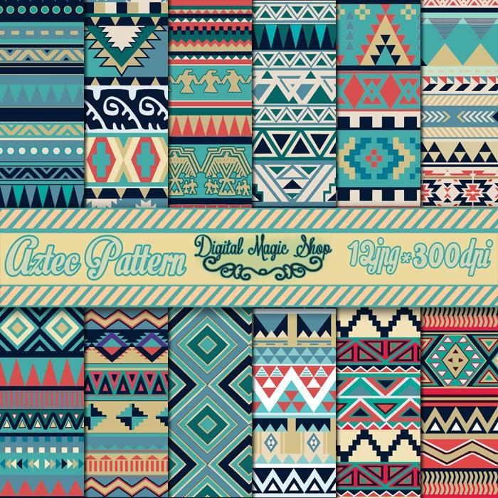12 nature tones aztec pattern digital paper ikat geometric