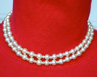 Marvella Faux Pearl and AB Bead Vintage Necklace