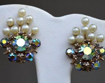AB Rhinestones and Faux Pearl Earrings Vintage