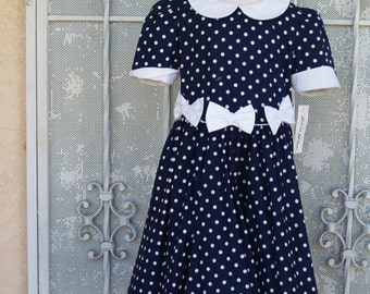 Vintage Navy Blue Girls Dress Size 6x white polka dots 100 percent cotton