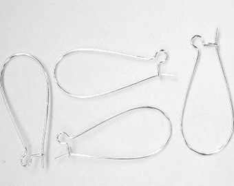 100 Silver Plated Kidney Ear Wires 16mm x 38mm Jewelry Supplies Findings SPKEW16-100EB