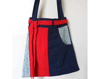 Recycled Handmade Tote Bag/ Eco Friendly Bag Navy Blue and Red with Blue and White Flower Print Detail