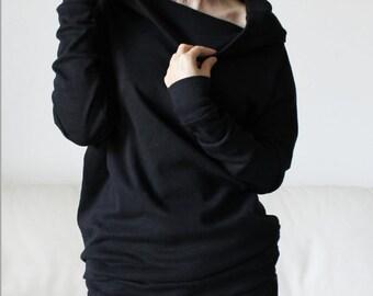 Black sweater blouse, sweatshirt tunic, cotton cowl neck sweatshirt