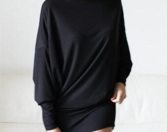 Black sweatshirt dress, long sleeve dress, off shoulder cotton blouse, black cotton top, tunic dress