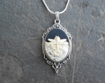"""Stunning Ivory Dragonfly (on a black background) Cameo Pendant Necklace---.925 plated 22"""" Chain--- Great Quality"""