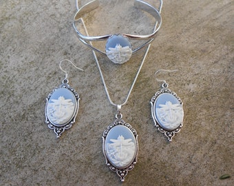 Matching Set-- Cameo Necklace, Earrings and Bracelet!!!  Dragonfly (ivory on sky blue) Gorgeous Quality!!!!!!