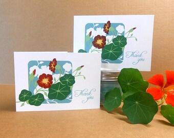 Nasturtiums Thank You Card Hand Silkscreened Screen Printed