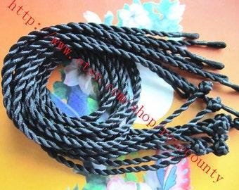Wholesale 100pcs 19 inch 3mm thickness black satin twist cords necklace