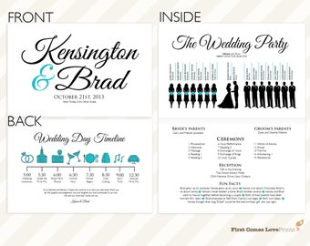 "PRINTABLE Silhouette Wedding Program • ""The Kensington: Full-Sheet Folded Design"" • 8.5x11 Page, Folded • Includes Wedding/Big Day Timeline"