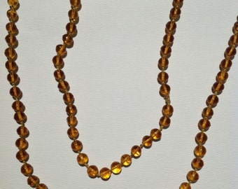 Vintage Amber Glass Flapper Bead Necklace