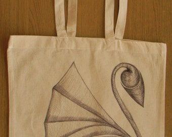 Hand drawn canvas tote bag